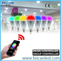 9w aluminium shell RGBW WiFi bulb controlled by APP/mobile phone