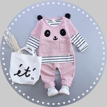 S31821W Children korea casual outfits 2016 childre cartoon striped shirt+ pants cute cotton clothing sets