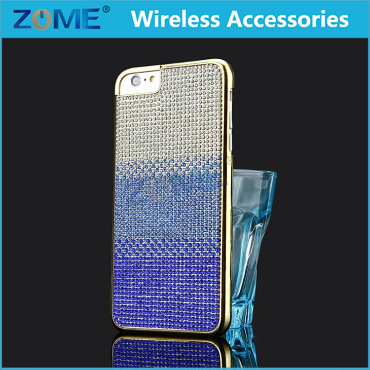 2016 New Coming Fashion Matte Full Diamond Bling Metal Plating Pc Mobile Phone Cases Back Cover For Iphone 6