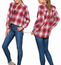 2017 new design plaid printed enzyme wash soft comfortable shirt