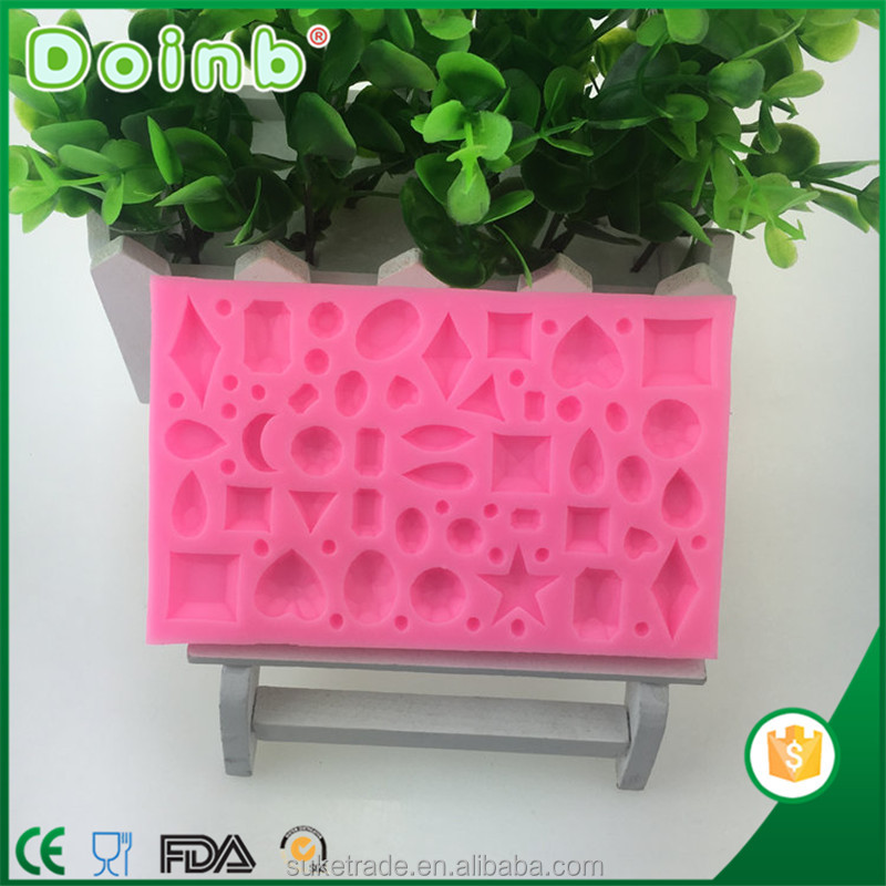 2017 new design china wholesale supplier custom 3D diamond shaped fondant silicone molds for cake decorating baking tools
