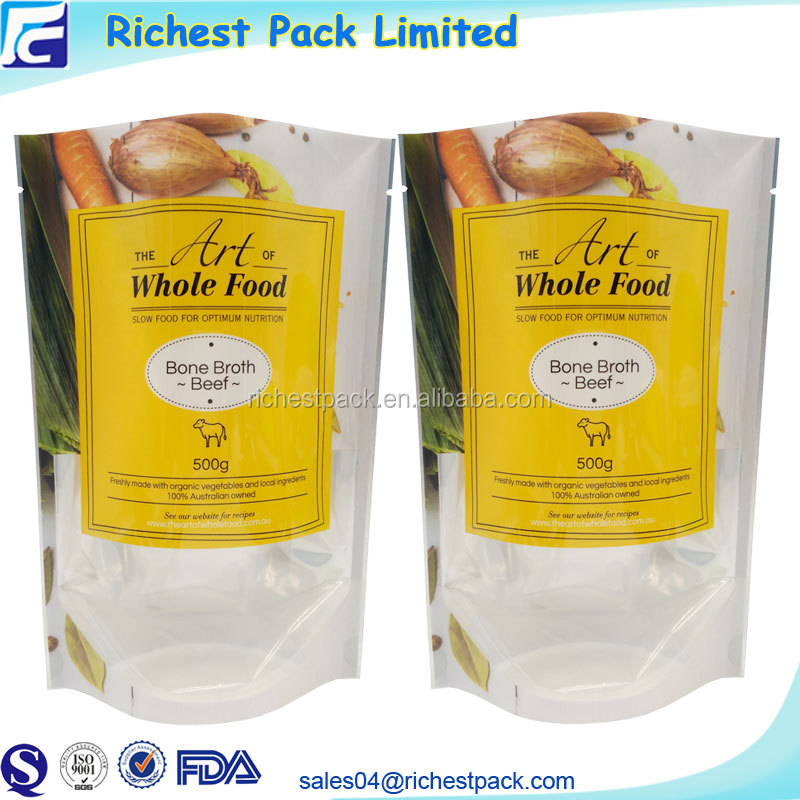 High Quality Custom Printed Food Packaging Transparent Window Back Foil Stand Up Pouches