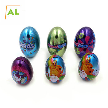 "4.75"" Tall Custom Design Metal Easter Egg Ornament Tin Factory Price"