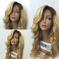 Wholesale price 22inches body wave #1b#27 color long dark roots human hair blonde wigs
