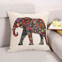 18 inch Generic Linen Cute Elephant Cotton Decorative Throw Pillow Case Cushion Cover
