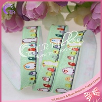 Cartoon birds printed fold over elastic wholesale, 5/8 inch FOE elastic