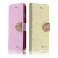 C&T Pu Leather Diamond Design Sparkle Glitter Card Flip Stand Wallet flip cover for iPhone 6S Plus