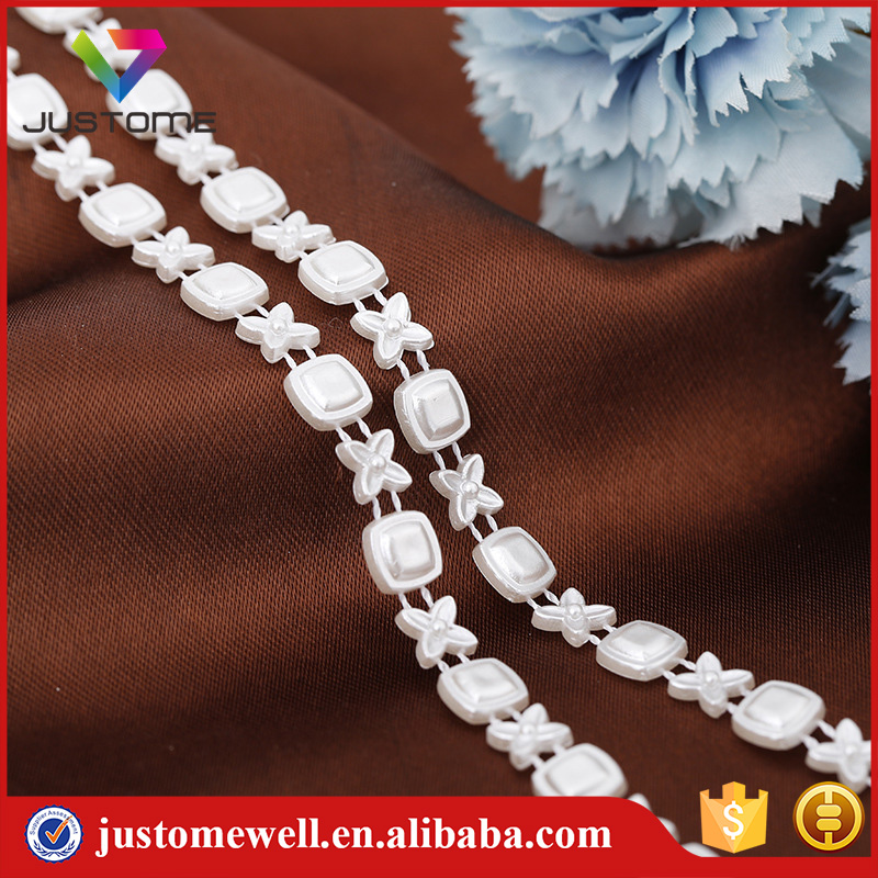 Flower Beaded Flat Back Plastic Pearl Banding Bridal Trim
