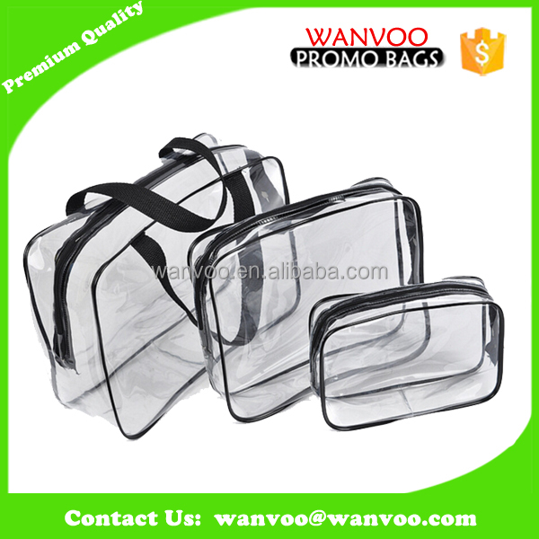 Eco recycled custom clear transparent handbag waterproof plastic pvc cosmetic bag with zipper