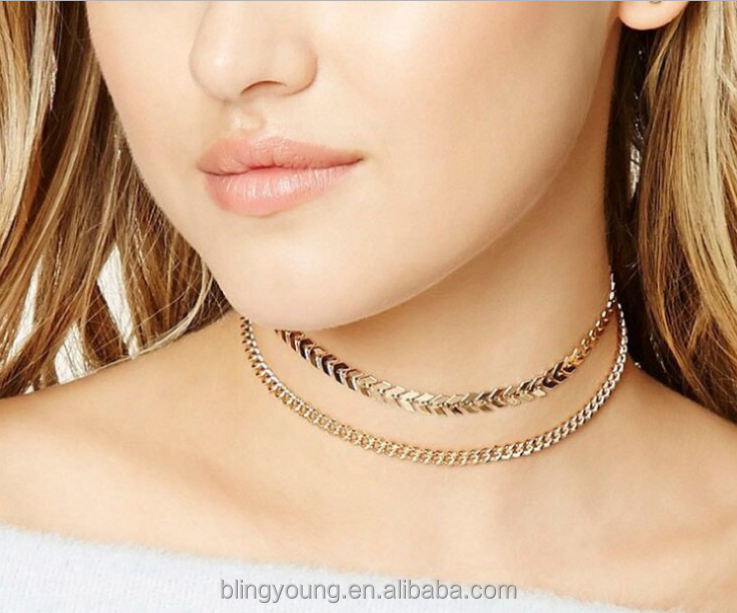 Wholesale handmade V metal choker,fashion trend double layer fishbone necklace choker set