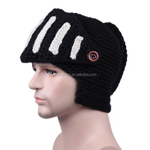 Fashion hand knitted cap high quality rome knight hat winter outdoor thermal cap gladiator mask male cap