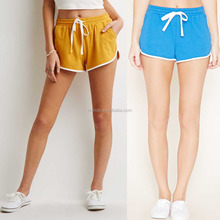 High Waist Women Sport Shorts 100% Cotton Striped Elasticized Drawstring Waist Polyester Spandex Shorts