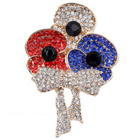 Fancy Flower multicolor crystal Brooch Engagement Round Brooch in Bulk Decorative for Woman Party gift