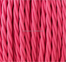 Pink twisted braided cable cord wire fabric cover 2*0.75/3*0.75