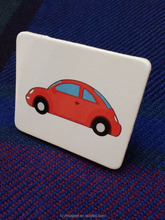 Promotional Gloss round red car card /toy colourful wooden fridge magnet refrigerator magnets