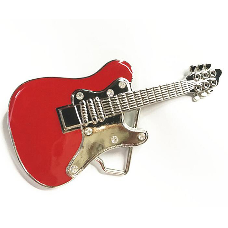 Hot Sale Metal Guitar Shape West Cowboy Belt Buckles Women
