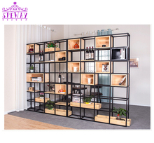 2019 hot sale industrial loft style furniture office book case / popular metal and wood wood <strong>shelf</strong>