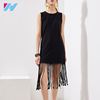 2017 Elagant Tassels Black Dress Sleeveless O-neck Lace tassel slim dress High Quality Sexy Runway Women Dress