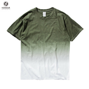 2018 Custom Men Stylish O-Neck 100% Cotton Gradient Fitness Casual Outdoor T Shirt Without Collar