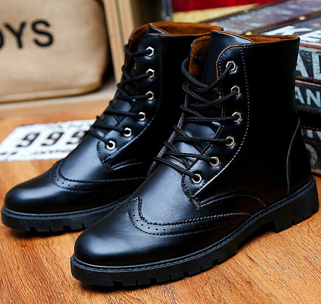 S10711A Retro Style Men Boots Cheap Lace Up Boots Warm Martin Boots