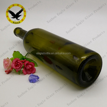 New design Empty bottle of red wine dark green glass wine bottle 750ml with high quality