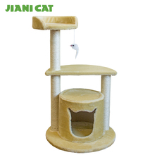 special yellow soft faux suede designed cat climbing tree
