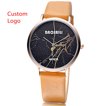 Marble Face Logo Designed Watch Custom Fashion Watch Smooth Leather Watch