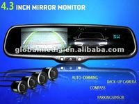 CAR MONITOR -4.3 inch rearview mirror monitor with reverse camera display special for ford chevrolet renault kia hyundai mazda