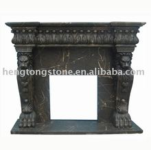 Black Marble Fireplace Surround with Lion Head Carving