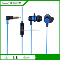 sport wired metal earphone with Mic deep bass 3.5mm jack plug for smart phones