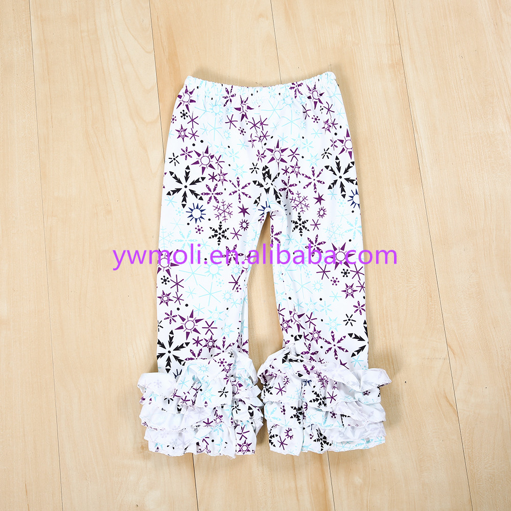 Baby dazzling Wholesale Soft Cotton Pant Tamil Girls Names with long triple ruffle