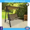 Patio Sling Swing Shade Canopy Tan Seats 3 Furniture Outdoor Porch Yard Garden