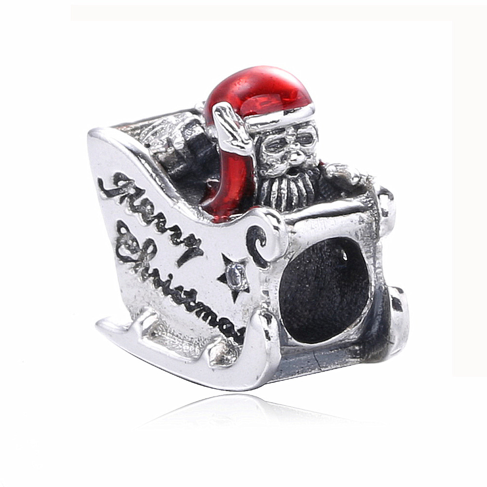 Winter gift Christmas season sterling 925 silver red santa claus charm jewelry
