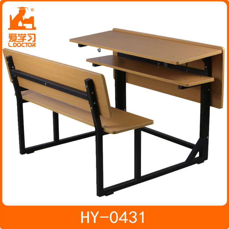 Attached metal middle school student desk and chair