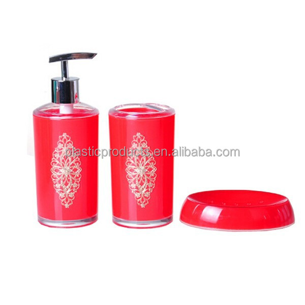 Cute Toothbrush Holder with Hand Soap Dispenser with Red Soap Dish