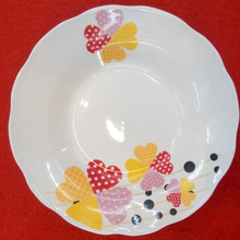 10. 5 inch pink ceramic porcelain soup plate