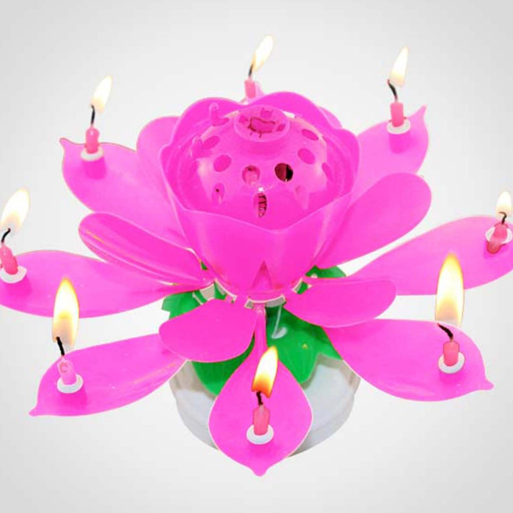 Wholesale Musical Auto Open Up Lotus Candles Birthday Party