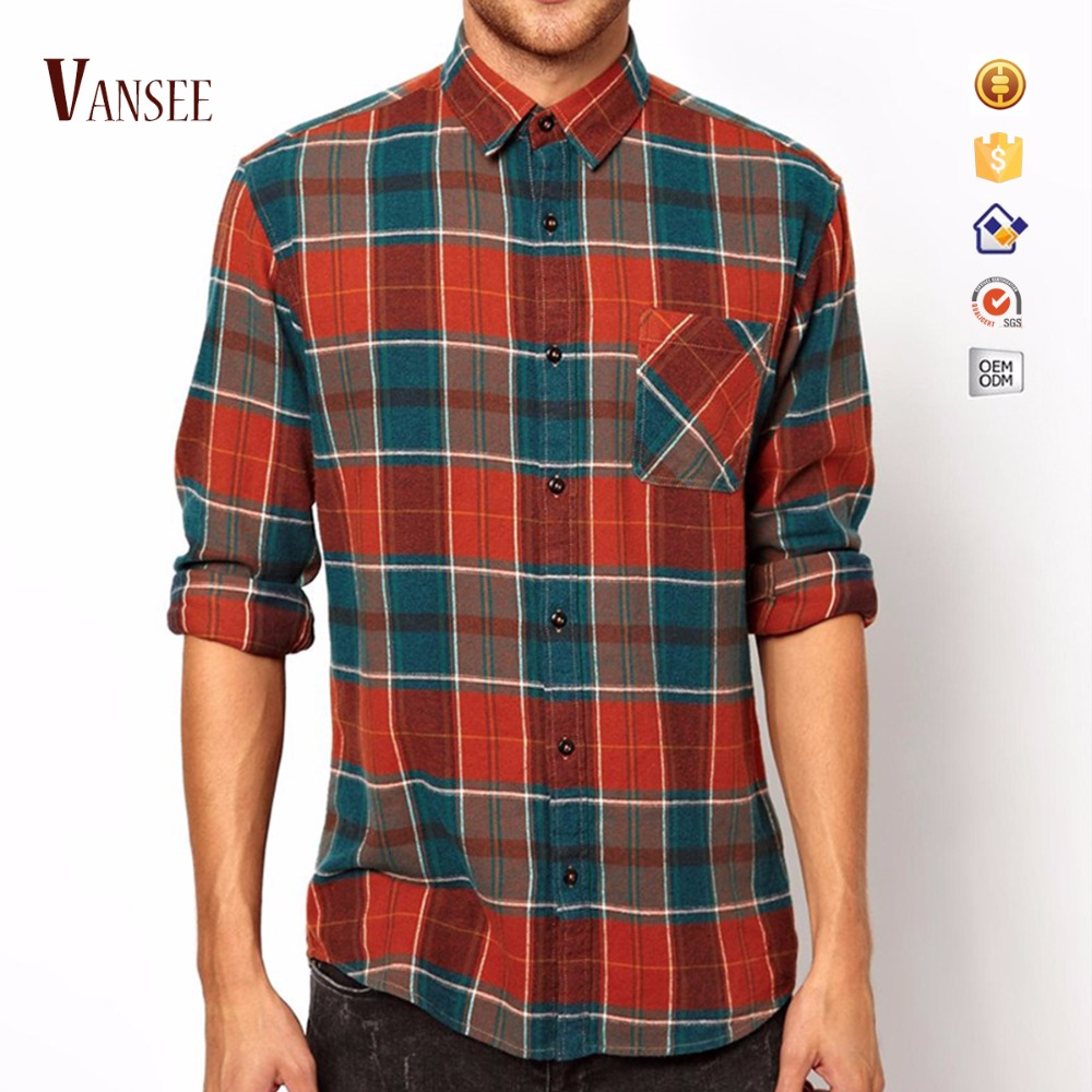 men's long sleeve shirts small big check red orange plaids flannel shirts for men