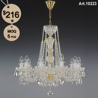 Decorative Colored Bohemian Glass Chandelier with 10 Light