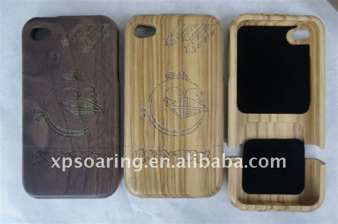 bird wood hard case back cover for iphone 4 4g
