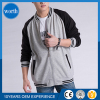 Custom Made Men Stylish Hoodie Lastest Design Two Colors Sweaters With full zipper Baseball Jacket Hoodies