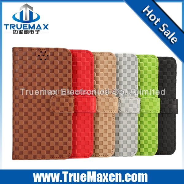 Hot selling caseFor Samsung S6 edge+ Gird Pattern Leather Case