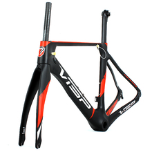 China supplier wholesale factory 700C carbon road bike frame T900 in 26~53 CM sizes with Fork and Seat Post