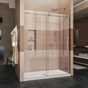 Hotcake in North America Frameless Stainless Steel Big Roller Shower Enclosure Room Door