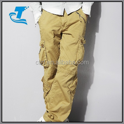Newest OEM Wholesale Cheap Khaki Cargo Pants With A Lot Of Pockets