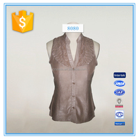 ladies front open with buttons and ruffle tank top