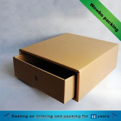 Hard brown kraft paperboard drawer shaped box no print