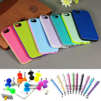 for iphone 5 tpu case,dual color soft case for iphone 5 with screen protector stylus and stand ball