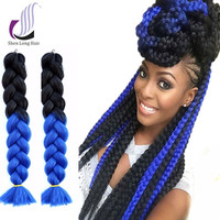 Yaki Style Two Colored Three Colored Black And Blue Expressions Synthetic Braiding Hair