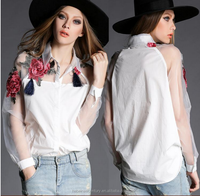2016 Fashion Ladies Top Causal Organza Women Embroidered Blouse